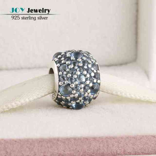 2016 Summer Teal Shimmering Droplets Charms 925-Sterling-Silver CZ Pave Ball Beads For Jewelry Making Diy Brand Logo Bracelets