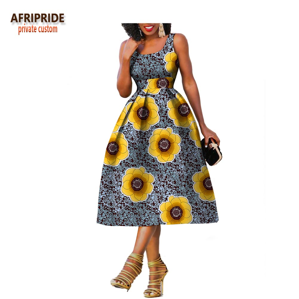2019 Original Afripride private custom african clothes summer dress for women knee length sleeveless batik party