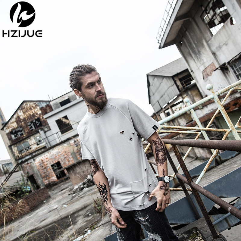 HZIJUE 2017 fashion men hole T shirt Hip hop Oversized short sleeve men homme High street top tees kanye funny T shirt