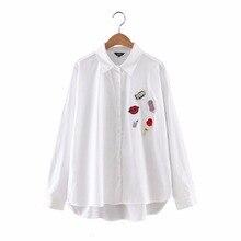 Women cute lip popcorn loose striped blouse cotton oversized Icecream drinks patch shirt long sleeve work office wear top LT1043
