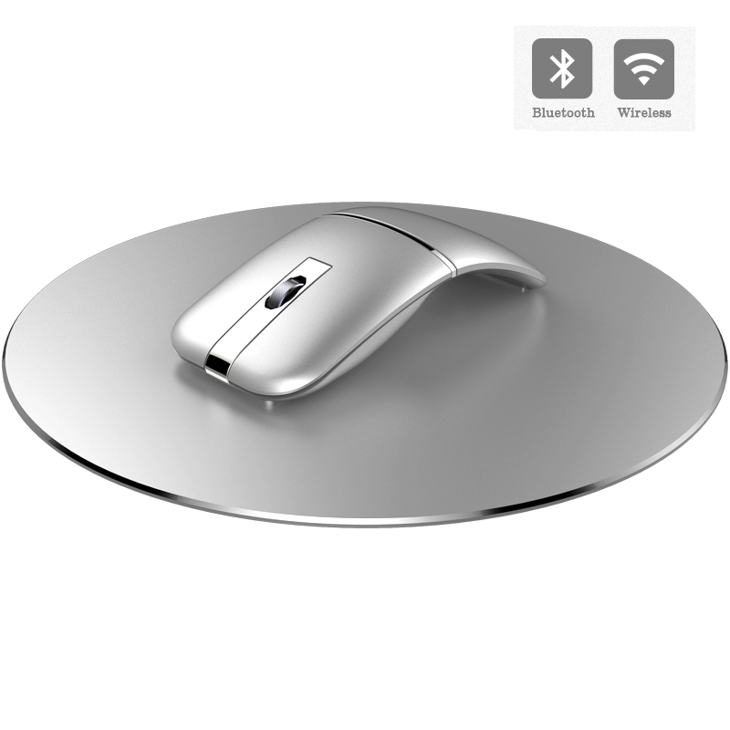 2.4G USB Wireless+Bluetooth Folding Mouse Rechargeable Ergonomic Gaming Mouse For Macbook Lenovo Asus Dell HP Computer Mouse(China)