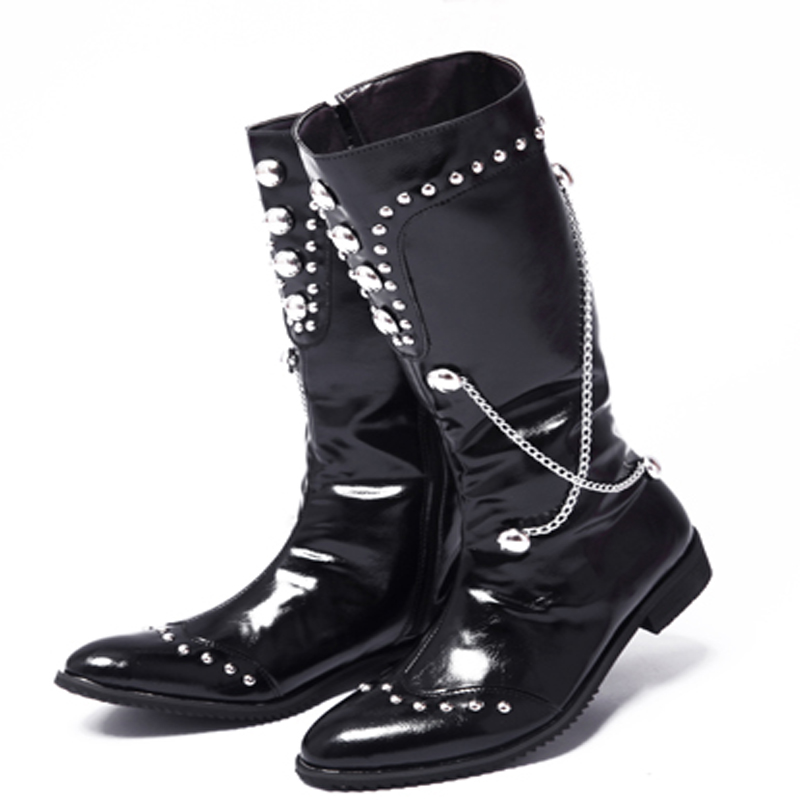 ФОТО Custom Hand Made Fashion Pointed Toe Rivet Boots Men Personality Chain Middle Boots Star Rock Performance Boots Shoes