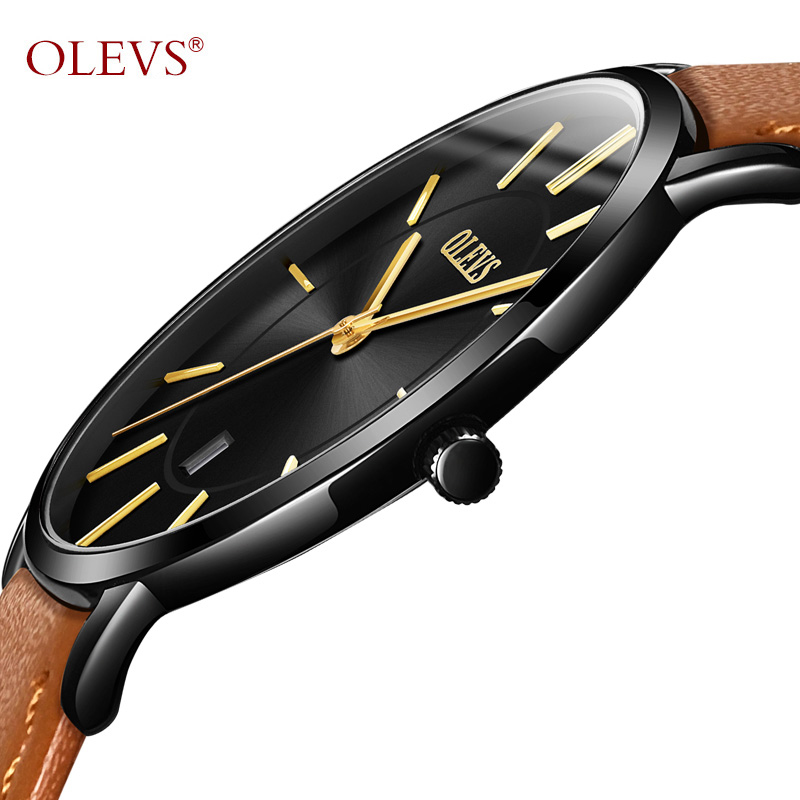 OLEVS Ultrathin Men Business Watches Top Brand Date Waterproof Male Watch Clock Leather Watchbands Man's Quartz Wristwatch G5869 new arrival ultrathin quartz watch luxury brand guanqin waterproof watch male casual clock hours men leather business wristwatch