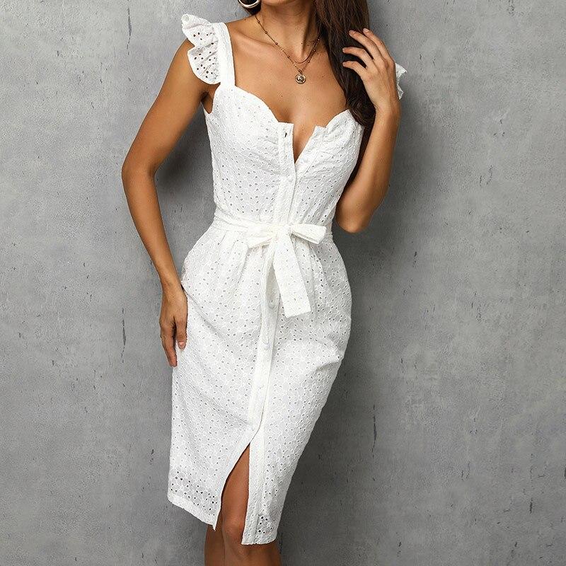 Women White Dress Lace Up Sexy Midi Vestidos Ruffles Sleeveless Bodycon Female Dresses 2020 Buttons Belt Elegant Ladies Clothes