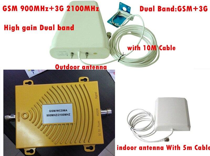 Dual Band 65dbi,2G 3G GSM Mobile Phone Signal Repeater 3G CDMA 2100MHz / GSM 900Mhz GSM 3G Repeater signal booster Full set