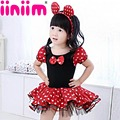 2017 New Girls Dress Summer Retail Dot Mouse Dress Mini Mouse Costume Ballet Tutu Dress+Ear 1-10Y girls party dress