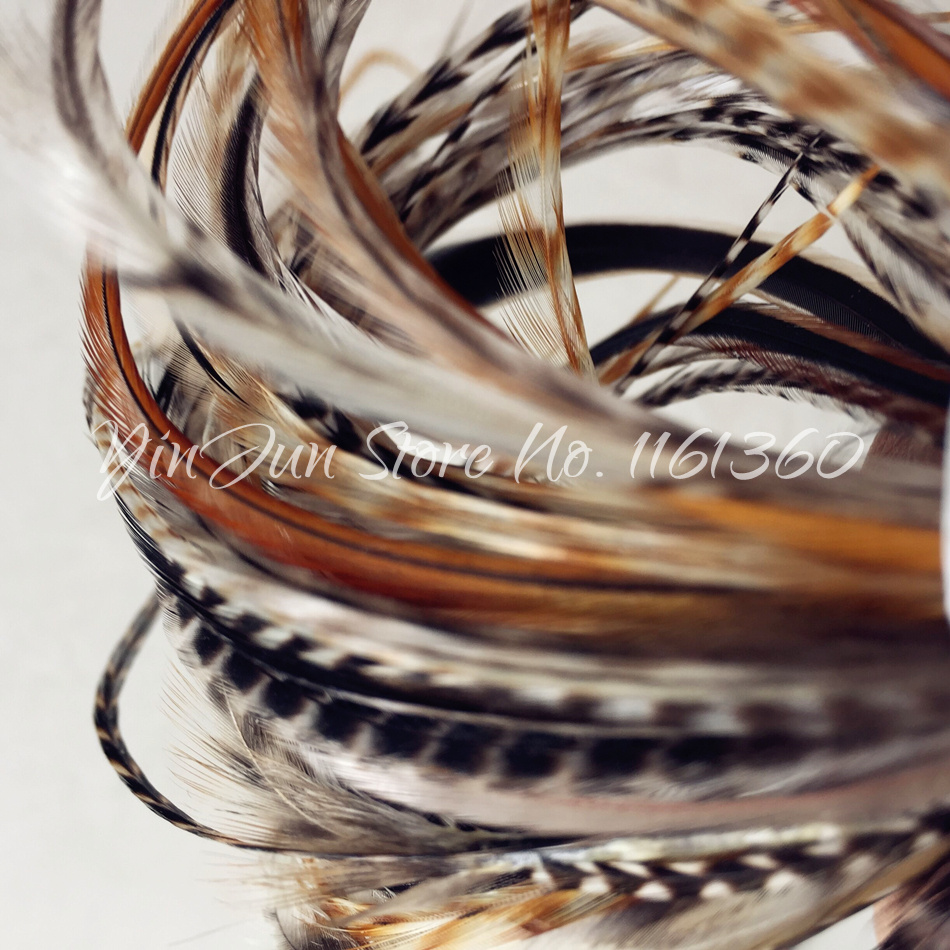 Bulk Hair Styling 10pcs 6 12 Grizzly Ombre Hair Feathers Rooster