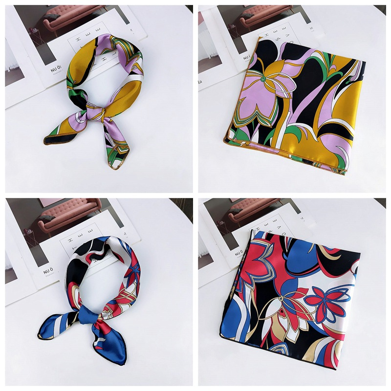 HTB1.PMnbinrK1Rjy1Xcq6yeDVXaW - fashion Square Scarf Hair Tie Band Party Women Elegant Small Vintage Skinny Retro Head Neck Silk Satin Scarf, square scarves