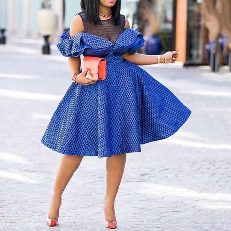 Элегантные винтажные Сексуальные вечерние женские платья больших размеров для офиса с завышенной талией Falbala Mesh африканские женские модные ретро шикарные платья