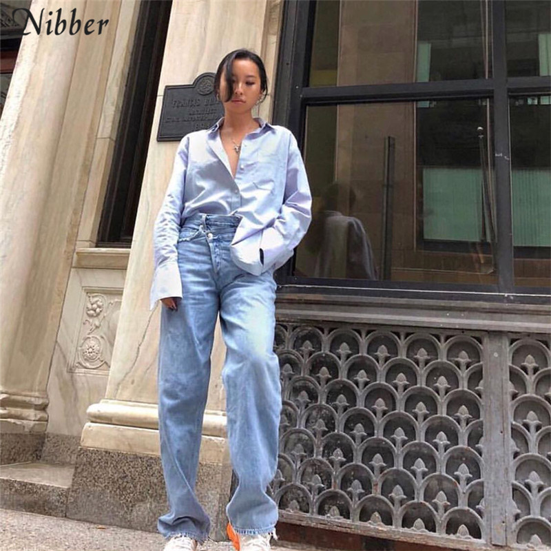 Nibber 2019spring fashion jeans women's Loose casual Straight   Pants   new cotton high Waist streetwear office lady   wide     leg     pants