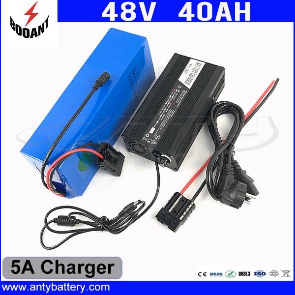 1800W 48V 40Ah eBike Battery 48V Built-in 50A BMS For Bafang Motor Lithium Battery 48V 18650 Cell With 5A Charger Freeshipping 30a 3s polymer lithium battery cell charger protection board pcb 18650 li ion lithium battery charging module 12 8 16v