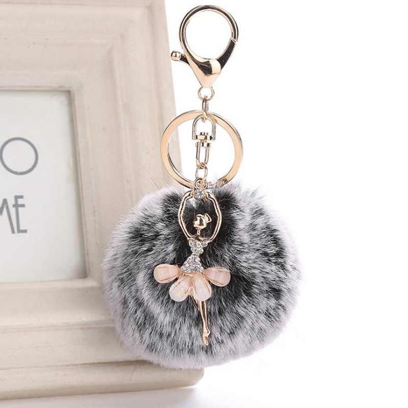 Chaveiro Fluffy Keychain Pom Pom Vòng Chìa Khóa Fake Lông Thỏ Chuỗi Phím bóng Pompom Thiên Thần Cô Gái Fourrure Súng Đại Bác Tự Phụ Nữ Túi phụ kiện