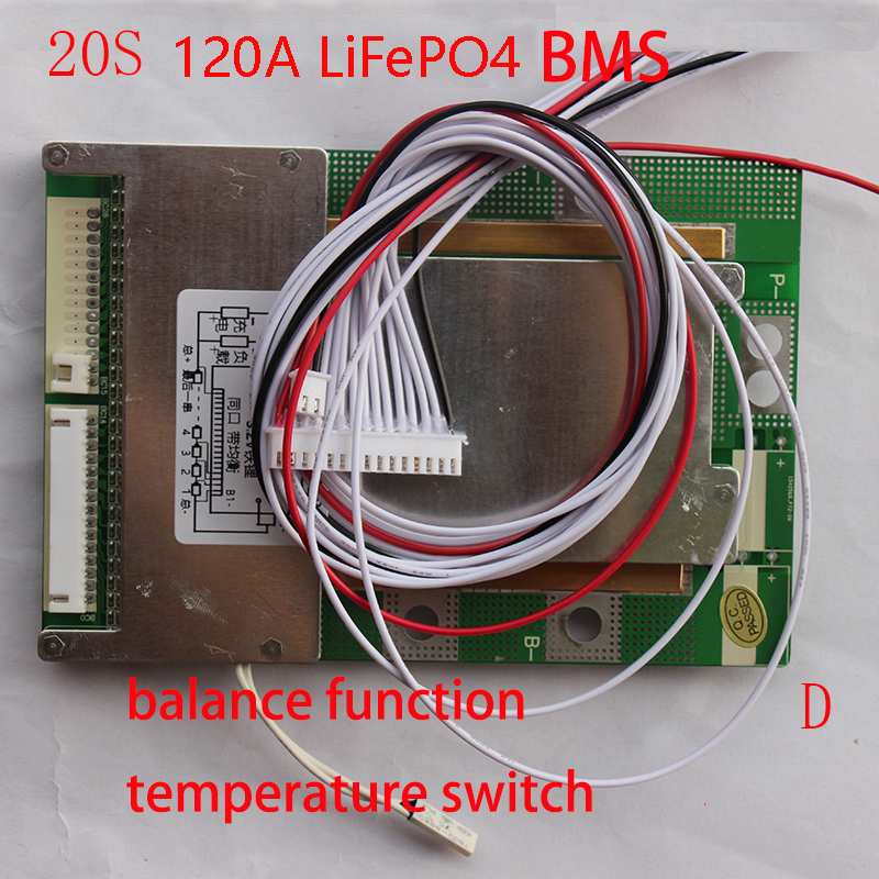 20S 80A 100A 120A version D LiFePO4 BMS PCM PCB battery protection board for 20 Packs