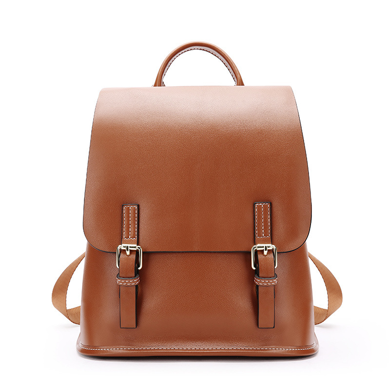 Corfeiter Genuine Leather Women Backpacks For Female Oil Wax Vintage Backpack Cow Leather Ladies Double Shoulders Bags
