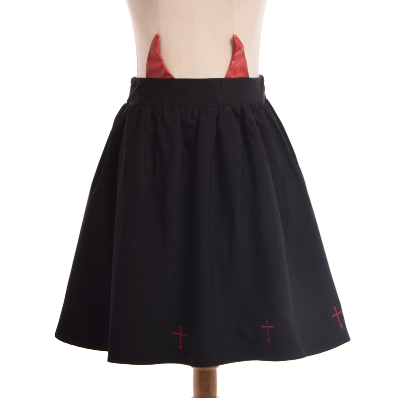 Girls Gothic Lolita Skirt Devil Horn Cross Embroidery Black Mini Skirts