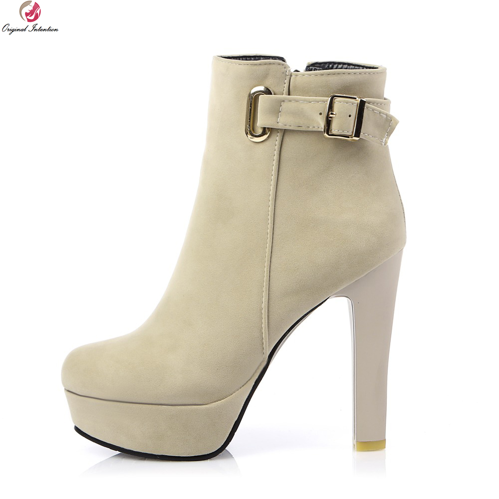 Original Intention Women Ankle Boots Elegant Round Toe Square Heels Boots Black Beige Beautiful Shoes Woman US Size 4-10.5 berdecia hollow out ankle round toe women boots low square heels cross tied female shoes elegant riding equeatrian women boots