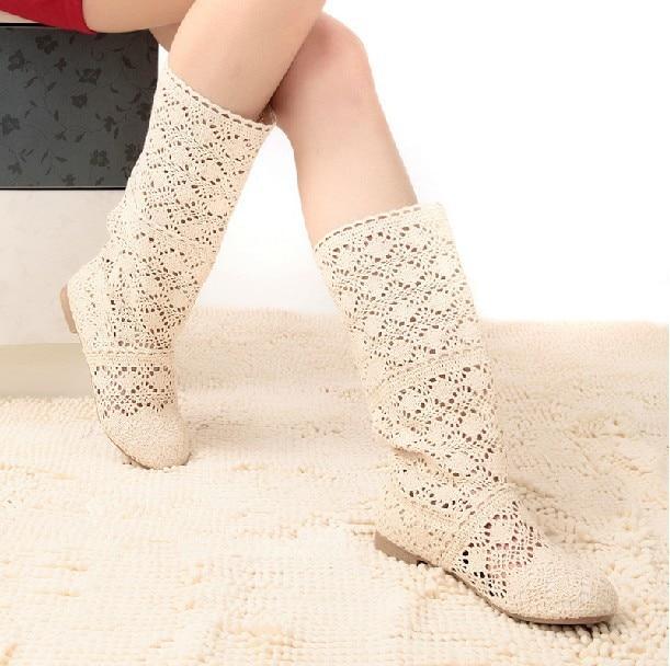 f38518c0238a6 € 38.12 |Free shipping ! Clearance Sales! Cutout summer boots crochet lace  high leg boots cool boots flat single boots en Botas caña alta de ...