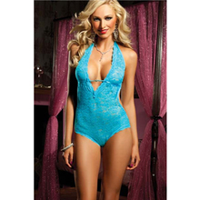 Night Mature Women Floral Lace Halter Blue Teddys Sexy Ladies Halter Neck Floral Lace Backless Teddies Intimate L8039-3