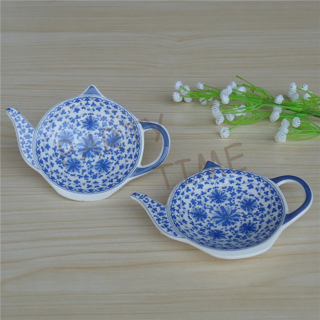 Ceramic Teabag Holder with blue color pattern and Teapot-shape, dish for tea bag and filter