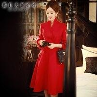 Оригинальное осенне зимнее офисное платье женское Новое аристократическое темпераментное модное повседневное тонкое платье миди с v образ