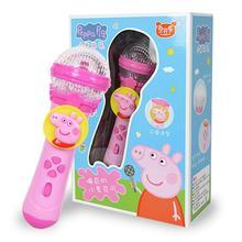 20 см Новинка подлинный Peppa Pig Джордж детский музыкальный инструмент светильник Музыкальный Микрофон обучающая игрушка подарок на день рождения для детей