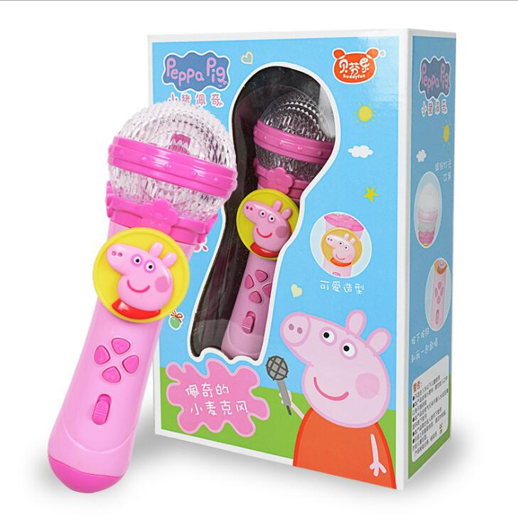 20cm 2019 New Genuine Peppa Pig George Children Musical Instruments Light Music Microphone Education Toy Birthday Gifts For Kids
