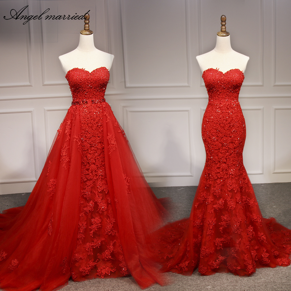Angel married evening dress Detachable tail sweetheart appliques laceoff shoulder formal dresses robe soiree vestido de