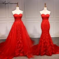 Angel married evening dress Detachable tail sweetheart appliques laceoff shoulder formal dresses robe soiree vestido de festa