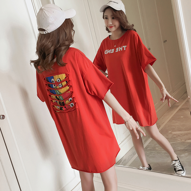162 2018 new summer pure cotton loose comfortable casual t-shirt dress Maternity dress pure color v neck hollow maternity t shirt