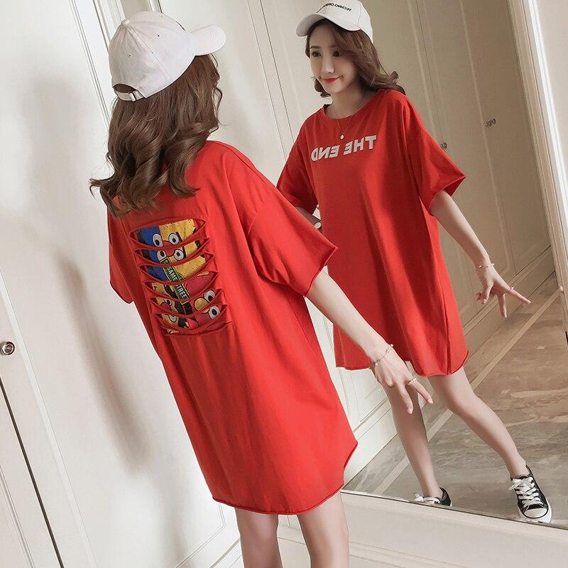 162 2018 nuevo verano Algodón puro flojo cómodo casual camiseta vestido de maternidad
