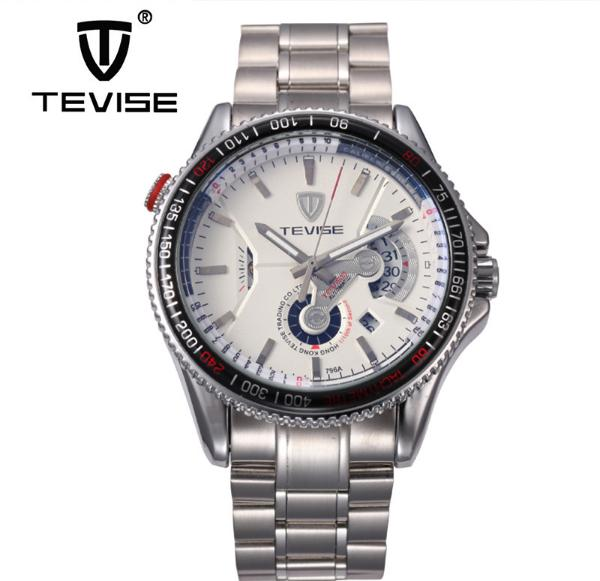 ФОТО Tevise Business Mechanical Watches Stainless Steel Band Wristwatches Men Brand Fashion Waterproof Black White Birthday Gift