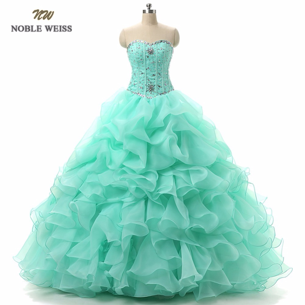 NOBLE WEISS Ball Gown Quinceanera Dresses for 15 years With Beaded Sweetheart Organza With Beads Crystal