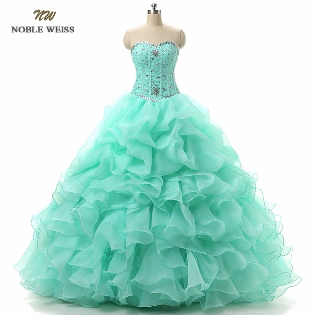 NOBLE WEISS Ball Gown Quinceanera Dresses for 15 years With Beaded Sweetheart Organza With Beads Crystal Sequined Formal dress