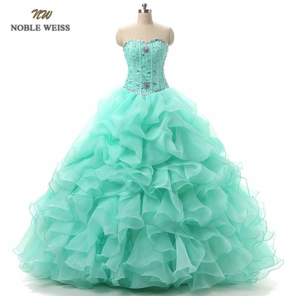NOBLE WEISS vestido de fiesta vestidos de Quinceañera de 15 años con cuentas Sweetheart Organza con cuentas de cristal con lentejuelas vestido Formal