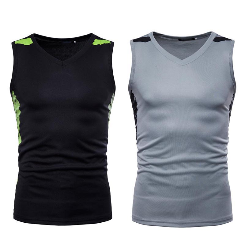 Professional Men Tight T-Shirt Sleeveless V-neck Quick Dry Tee Fitness Tank Tops  H9
