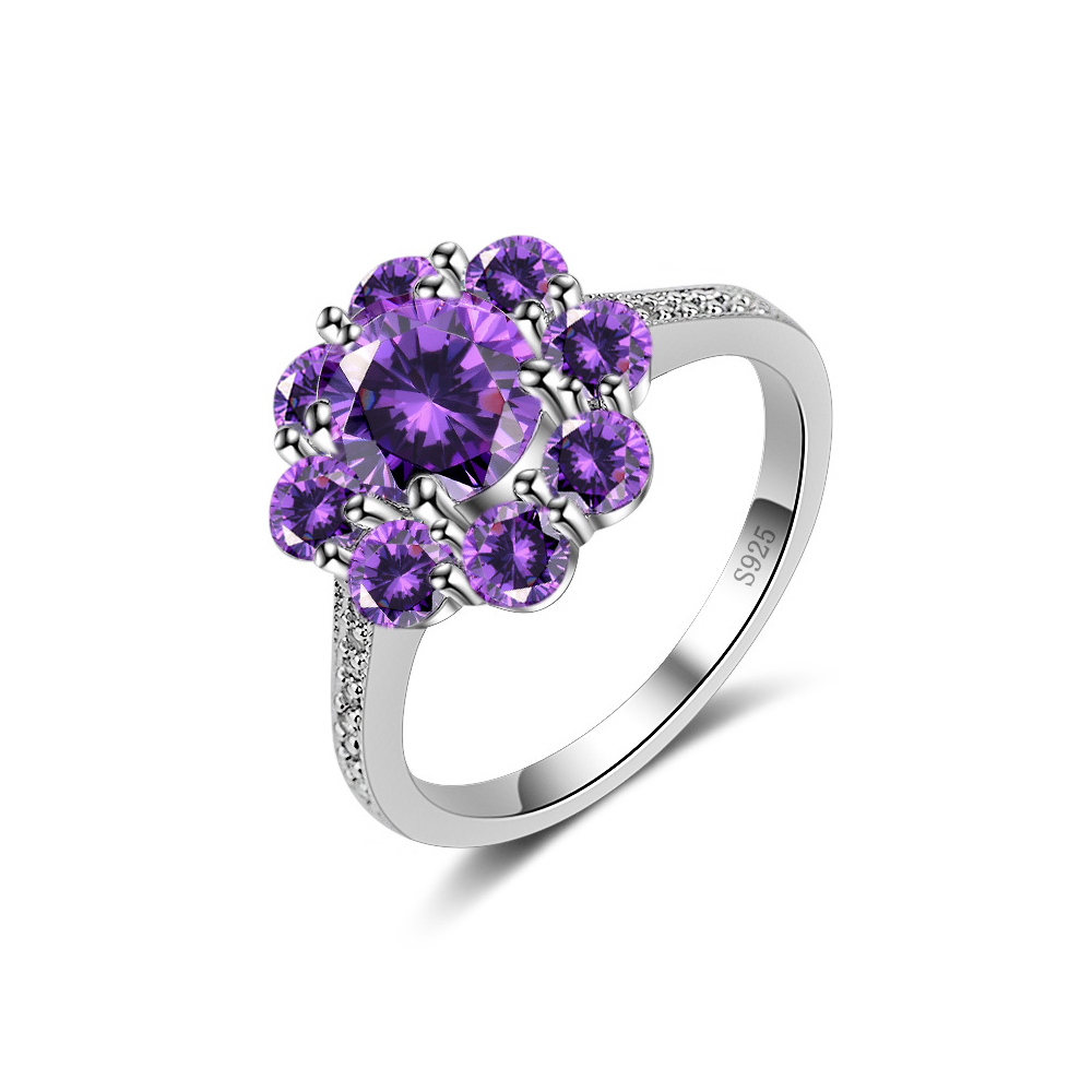 Natural Pink Purple Zircon Flower Ring Women Rings