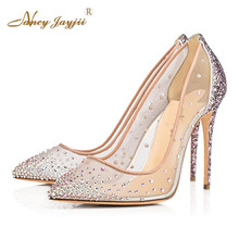 Nancyjayjii Women Genuine Leather Sexy Rhinestone Pointed-Toe High Heels Pumps Large Sansals Shoes For Woman Party&Wedding&Dress