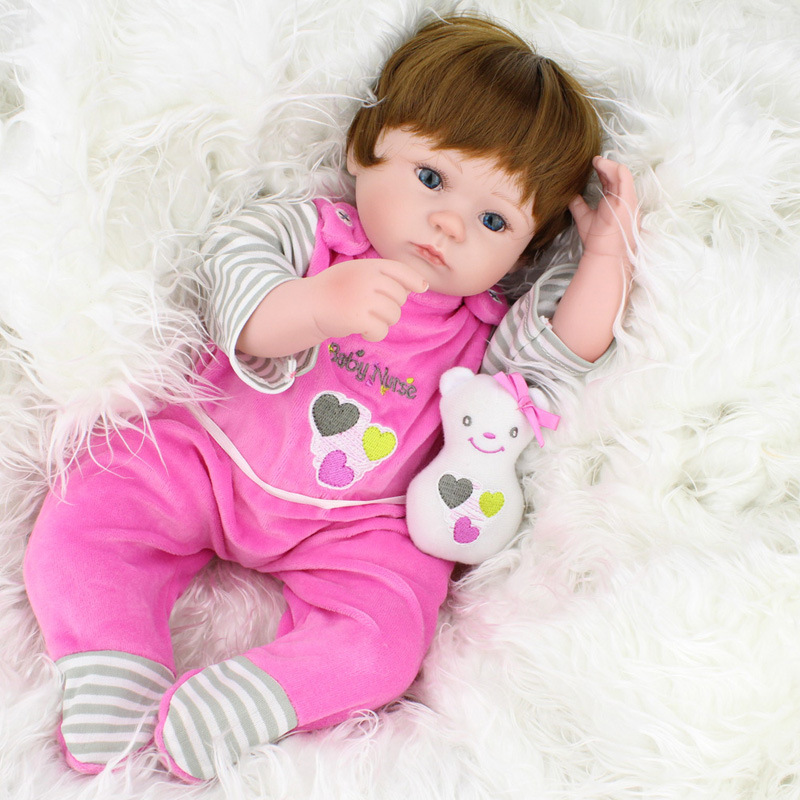 HOT Brand Doll 40cm Silicone Reborn Baby Doll kids Playmate Gift For Girls Baby Alive Soft Toys For Bouquets Doll Bebe Reborn ...