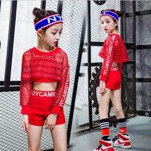 3 unids chicas rojo Cool Ballroom Jazz Hip Hop danza traje de competición  Tops cortos blusa de Red para niños Ropa de baile traj. 308cdb1ce5e