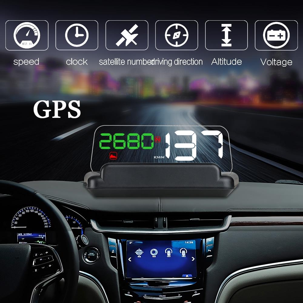 Dealcoo 5.0 Pouces GPS HUD Voiture HUD GPS Head Up Display Projecteur sur Le Pare-Brise GPS Compteur De Vitesse HUD Affichage De Voiture vitesse Projecteur