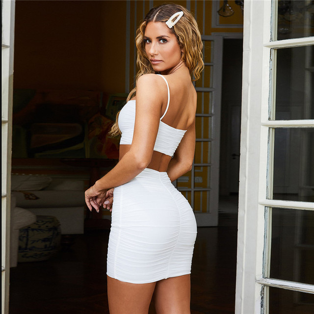 One Set Slip Top Mini Dress Sleeveless Summer Ruched Bodycon Dresses Club Party White Black 2 Layers
