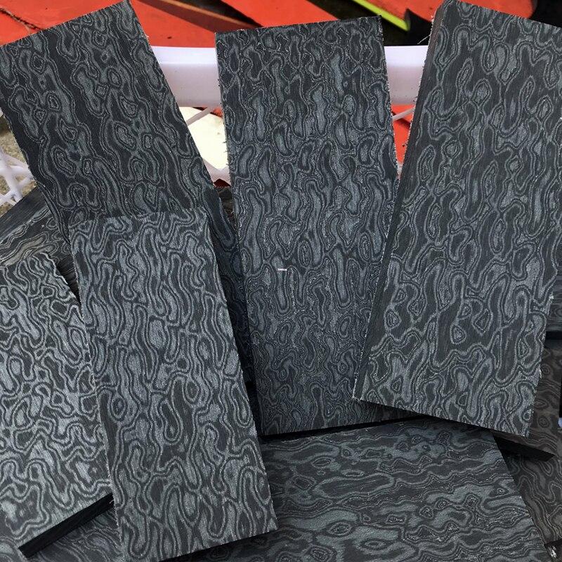2 Pcs DIY Knife Handle Imported Micarta Shank Patch Space Board Linen Mikata Damascus Pattern 12x4x1cm