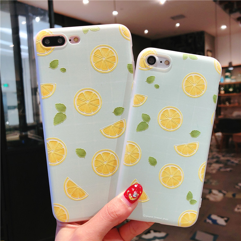 Fashion Summer Fruit Emboss Watermelon Lemon Case For iPhone X 8 Plus Soft TPU Silicon Cover For iPhone 5 5S SE 6 6S 7 Plus Capa