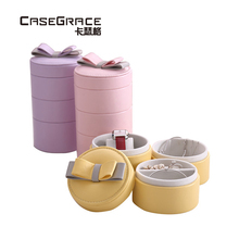 ФОТО Casegrace sheepskin veins jewelry round storage box simple compact glossy PU leather bowknot 3 layers portable jewelry box 01137