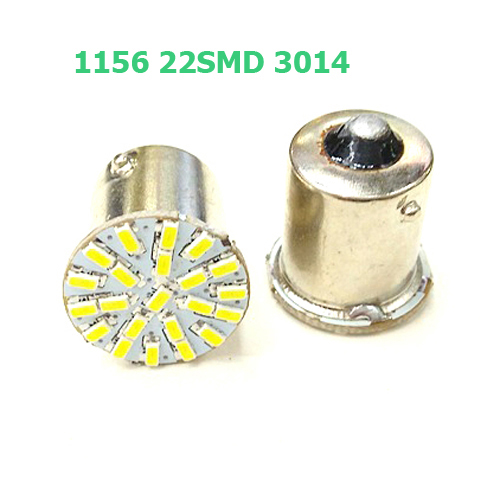 Prix pour 100 pcs BA15S P21W 1156 22 LED SMD Voiture Auto Queue Côté Indicateur Lumières Parking Lampe Ampoule Blanc 3014 DC12V
