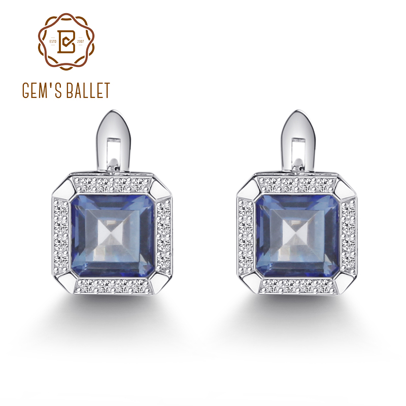Gem's Ballet 3.77Ct Natural Iolite Blue Mystic Quartz Gemstone Clip Earrings 925 Sterling Silver Fine Jewelry For Women