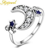 Ajojewel AAA Cubic Zircon Moon And Star Ring Silver 925 Sterling Jewelry For Women Wedding Engagement