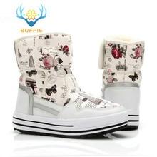 Bayan Buffie marka moda ayakkabılar karışık doğal yün kış kadın çizmeler kız çiçek su geçirmez termal kar botları renkli botlar