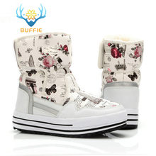 Lady Buffie Brand Fashion shoes mixed natural wool winter Women boots girl flower waterproof thermal snow boots colourful boots(China)