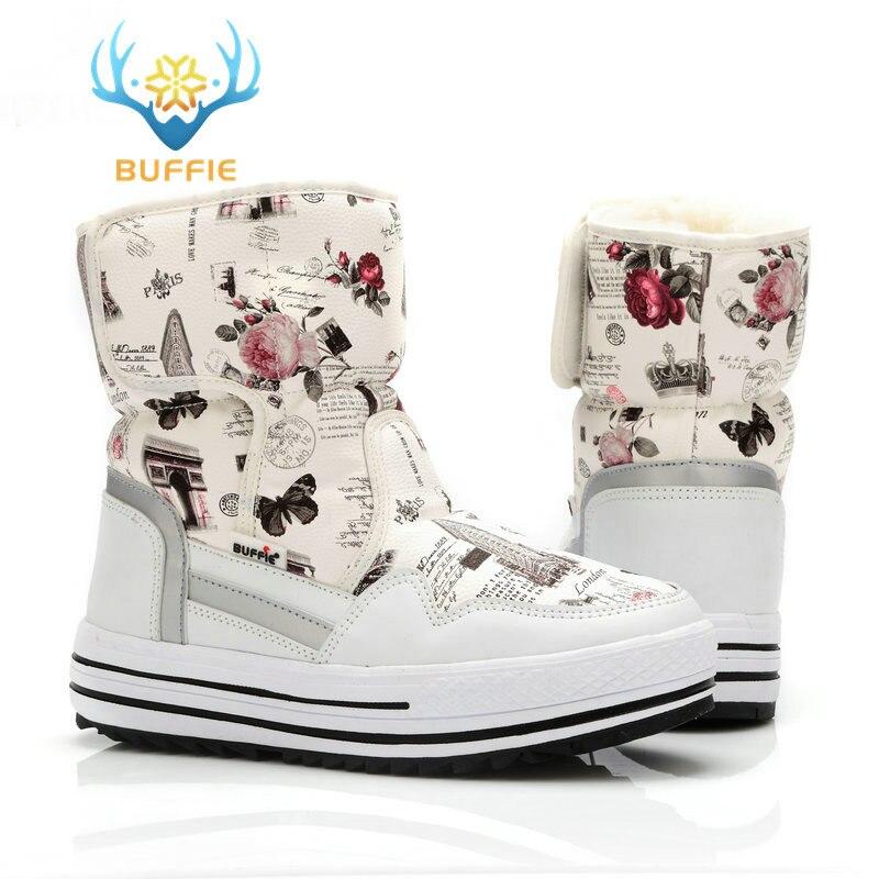 Senhora buffie marca moda sapatos misturados de lã natural inverno botas femininas menina flor à prova dwaterproof água botas de neve térmica botas coloridas